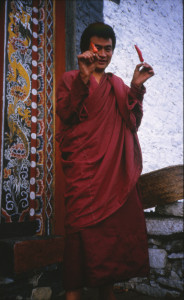 Bhutan Monk with chilis