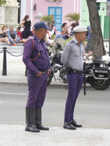 Havana traffic cops in purple
