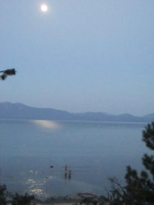 Dawn under full moon, Lake Tahoe